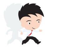 El hombre de negocios feliz y el funcionamiento ayunan, concepto de desafío en negocio, presentado en forma Fotografía de archivo libre de regalías
