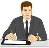 El hombre de negocios firma un contrato fotos de archivo libres de regalías