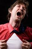 El hombre de negocios furioso rasga su camisa Imagen de archivo libre de regalías