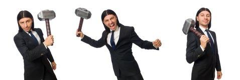 El hombre de negocios hermoso que sostiene el martillo aislado en blanco fotos de archivo