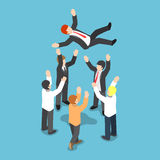 El hombre de negocios isométrico que es lanza para arriba en el aire de su equipo libre illustration