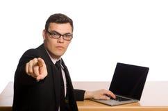El hombre de negocios joven aislado en el blanco Imagen de archivo