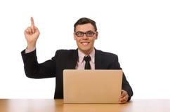El hombre de negocios joven aislado en el blanco Foto de archivo