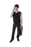 El hombre de negocios joven aislado en un blanco Imagen de archivo