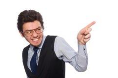El hombre de negocios joven en concepto divertido en blanco fotos de archivo libres de regalías