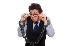 El hombre de negocios joven en concepto divertido en blanco Foto de archivo libre de regalías