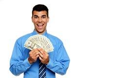 El hombre de negocios joven le muestra el dinero Imagenes de archivo