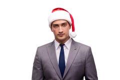 El hombre de negocios joven que celebra la Navidad en oficina foto de archivo