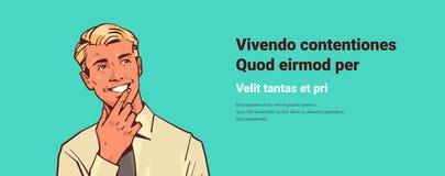 El hombre de negocios de la barbilla del control del hombre de negocios piensa reflexiona el retrato masculino del personaje de d libre illustration
