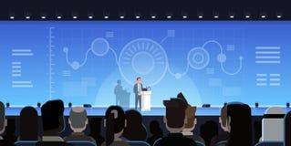 El hombre de negocios Leading Presentation Showing traza informes en concepto de la reunión de Front Of Businesspeople Group Trai libre illustration