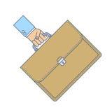 El hombre de negocios lleva una cartera por la manija Fotos de archivo