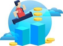 El hombre de negocios logra un beneficio Recepción del dinero stock de ilustración