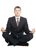 El hombre de negocios meditate, aislado en blanco imágenes de archivo libres de regalías