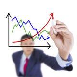 El hombre de negocios mira para arriba y el aumento u del correlativo del gráfico del contraste de la escritura imagen de archivo libre de regalías