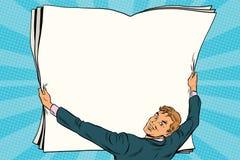 El hombre de negocios muestra el cartel del papel en blanco ilustración del vector