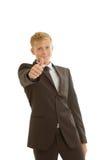 El hombre de negocios muestra el pulgar para arriba Imagen de archivo libre de regalías