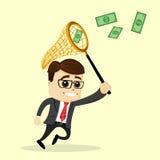 El hombre de negocios o el encargado del vector lleva a cabo una red Hombre en juego de asunto Imagen de archivo libre de regalías