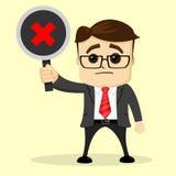 El hombre de negocios o el encargado del vector sostiene una placa Hombre en juego de asunto Fotografía de archivo