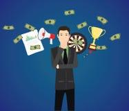 El hombre de negocios piensa con metas del gráfico del dinero como fondo Fotos de archivo