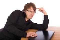 El hombre de negocios piensa en una idea Imagen de archivo libre de regalías