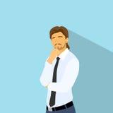 El hombre de negocios piensa la mano del control en la barbilla, hombre de negocios ilustración del vector