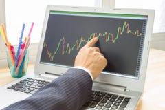 El hombre de negocios Point y analiza el gráfico de las divisas o el gráfico de la acción por Righ Fotografía de archivo