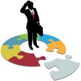 El hombre de negocios pregunta el pedazo que falta de la solución Imagen de archivo libre de regalías