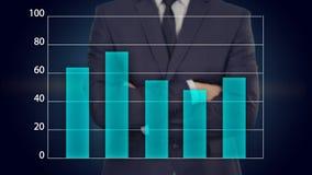 El hombre de negocios presiona un botón en la pantalla táctil concepto del negocio del gráfico ilustración del vector