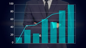 El hombre de negocios presiona un botón en la pantalla táctil concepto del negocio del gráfico stock de ilustración