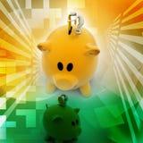 El hombre de negocios puso la moneda en la hucha Imagen de archivo libre de regalías