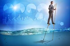 El hombre de negocios que camina en los zancos en el mar del agua ilustración del vector