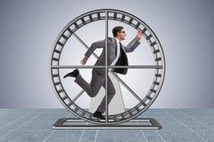 El hombre de negocios que corre en la rueda del hámster imagen de archivo libre de regalías