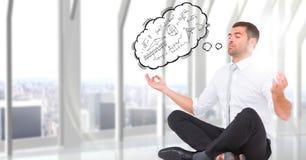 El hombre de negocios que medita contra ventana con la nube del pensamiento que muestra matemáticas garabatea Fotos de archivo libres de regalías