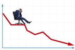 El hombre de negocios que resbala abajo en silla en concepto de la crisis económica Fotografía de archivo libre de regalías
