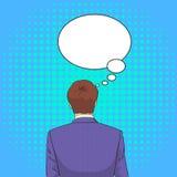 El hombre de negocios que retrocede reflexiona el estallido de pensamiento Art Retro Style Chat Bubble Fotografía de archivo