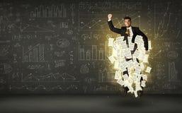 El hombre de negocios que salta con la nube del documento de papel Imagen de archivo libre de regalías