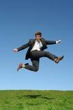 El hombre de negocios que salta para la alegría Imágenes de archivo libres de regalías