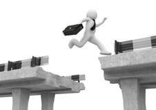 El hombre de negocios que salta sobre la sima del camino libre illustration