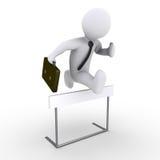 El hombre de negocios que salta sobre obstáculo stock de ilustración
