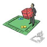 El hombre de negocios que sostiene dados rojos grandes en bosquejo del ejemplo del vector del juego de mesa garabatea la mano dib Fotografía de archivo libre de regalías