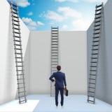 El hombre de negocios que sube una escalera para escaparse de problemas Imágenes de archivo libres de regalías