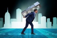 El hombre de negocios que trabaja demasiado difícilmente en concepto del negocio Foto de archivo libre de regalías