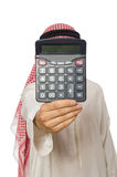 El hombre de negocios árabe aislado en blanco Fotos de archivo libres de regalías