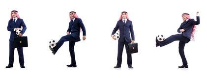 El hombre de negocios árabe con fútbol Fotografía de archivo