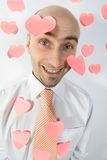 El hombre de negocios recuerda día de tarjetas del día de San Valentín Fotografía de archivo