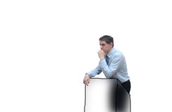 El hombre de negocios reflexionaba la pregunta Fotos de archivo
