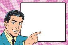 El hombre de negocios retro hermoso anuncia arte pop stock de ilustración