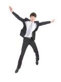El hombre de negocios salta Fotografía de archivo