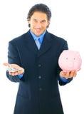 El hombre de negocios salva el dinero en la batería guarra Imágenes de archivo libres de regalías