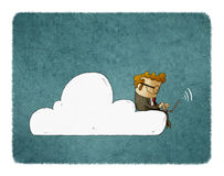 El hombre de negocios se sienta en una nube con el ordenador portátil en sus rodillas stock de ilustración